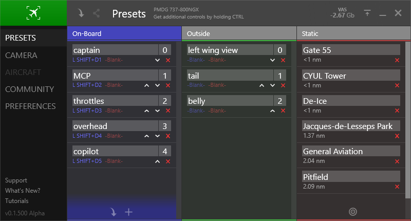 Static camera presets and modification controls